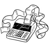 Adding machine sketch — Stock Vector