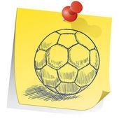 футбольный мяч на записки эскиз — Cтоковый вектор