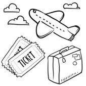 Air travel objects sketch — Stock Vector