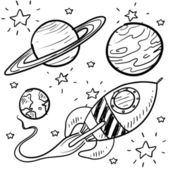 Science fiction objects sketch — Stock Vector