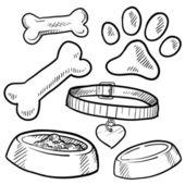 Evde beslenen hayvan nesneleri kroki — Stok Vektör