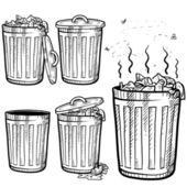 Bosquejo de surtido latas de basura y basura — Vector de stock