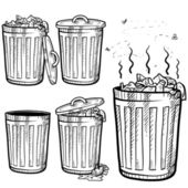 Garbage and trash cans assortment sketch — Stockvector