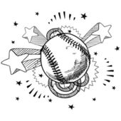 Excitement about baseball sketch — Stock Vector