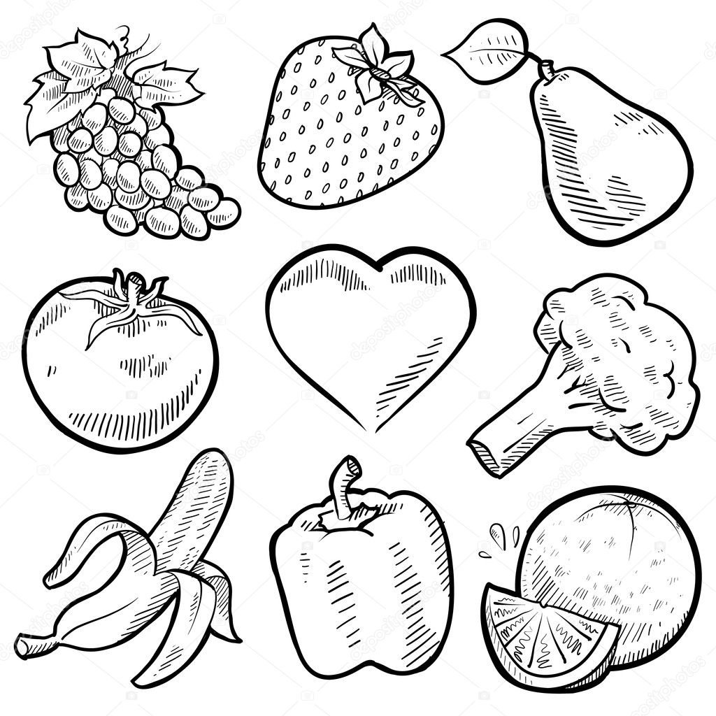 Sketches Of Fruits And Vegetables Coloring Pages