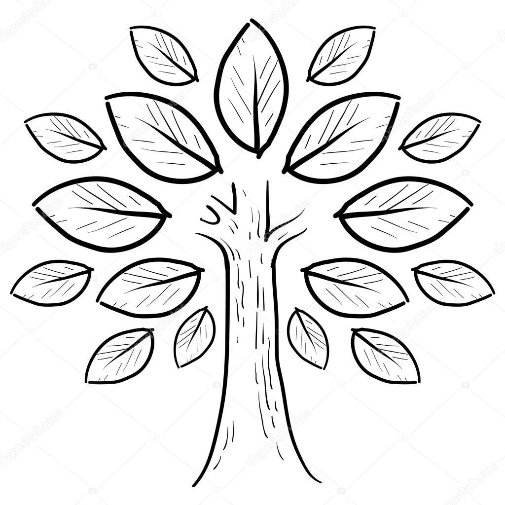 Рисунок дерева с листьями для детей эскиз распечатать