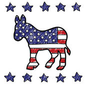 Democratic Party donkey sketch — Stock Vector