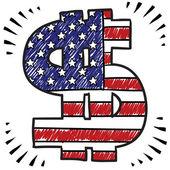 Bosquejo de dólar americano patriótico — Vector de stock