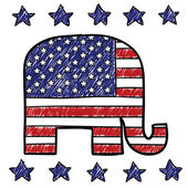 Republican party elephant sketch — Vettoriale Stock