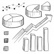 Charts, graphs, and presentation elements sketch — Stock Vector