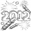 2012 New Year's Eve sketch — Stock Vector