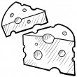 Swiss cheese sketch - Stockvektor