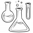 Science lab beakers and test tubes sketch - Stock Vector