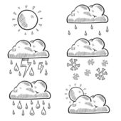 Variety of clouds weather sketch — Stock Vector