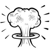 Nuclear mushroom cloud sketch — Stock Vector