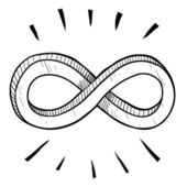 Oändligheten symbolen skiss — Stockvektor