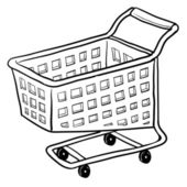 Shopping cart sketch — Stock Vector