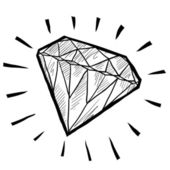Diamond gem sketch — Stock Vector