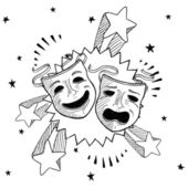 Theater masks sketch — Vector de stock