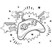 Videohry vzrušení skica — Stock vektor