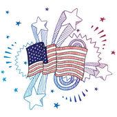 American patriotic fervor sketch — Stock Vector