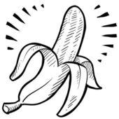 Muz meyve kroki — Stok Vektör