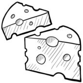 Swiss cheese sketch — Vector de stock