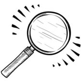 Magnifying glass sketch — Vector de stock