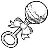 Baby rattle sketch — Stock Vector