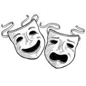 Drama masks sketch — Vettoriale Stock