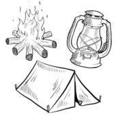 Camping equipment sketch — Stock Vector