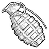 Hand grenade sketch — Stock Vector