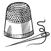 Thimble and needle sketch — Stock Vector