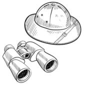 Safari objects sketch — Vettoriale Stock