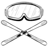 Water ski objects sketch — Vettoriale Stock