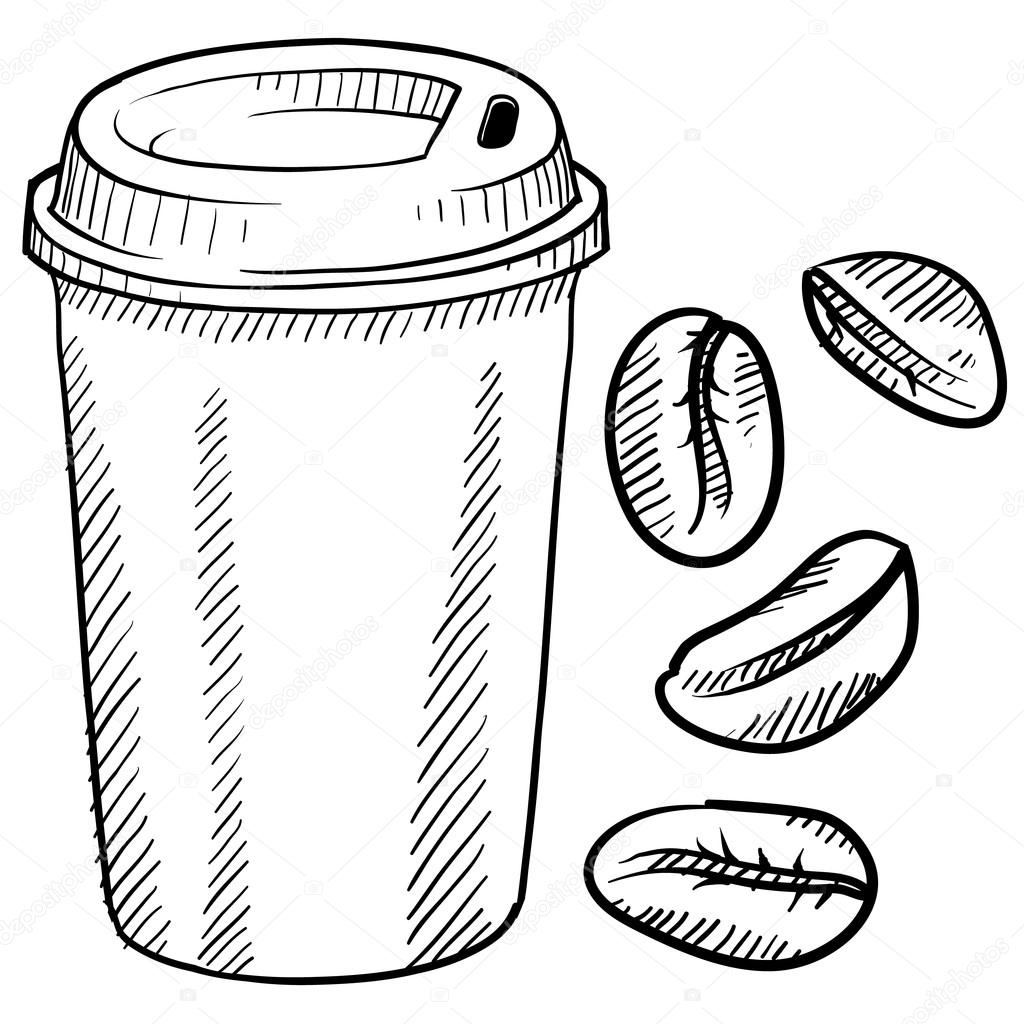 Coffee Bean Drawing Doodle Style Coffee Bean And