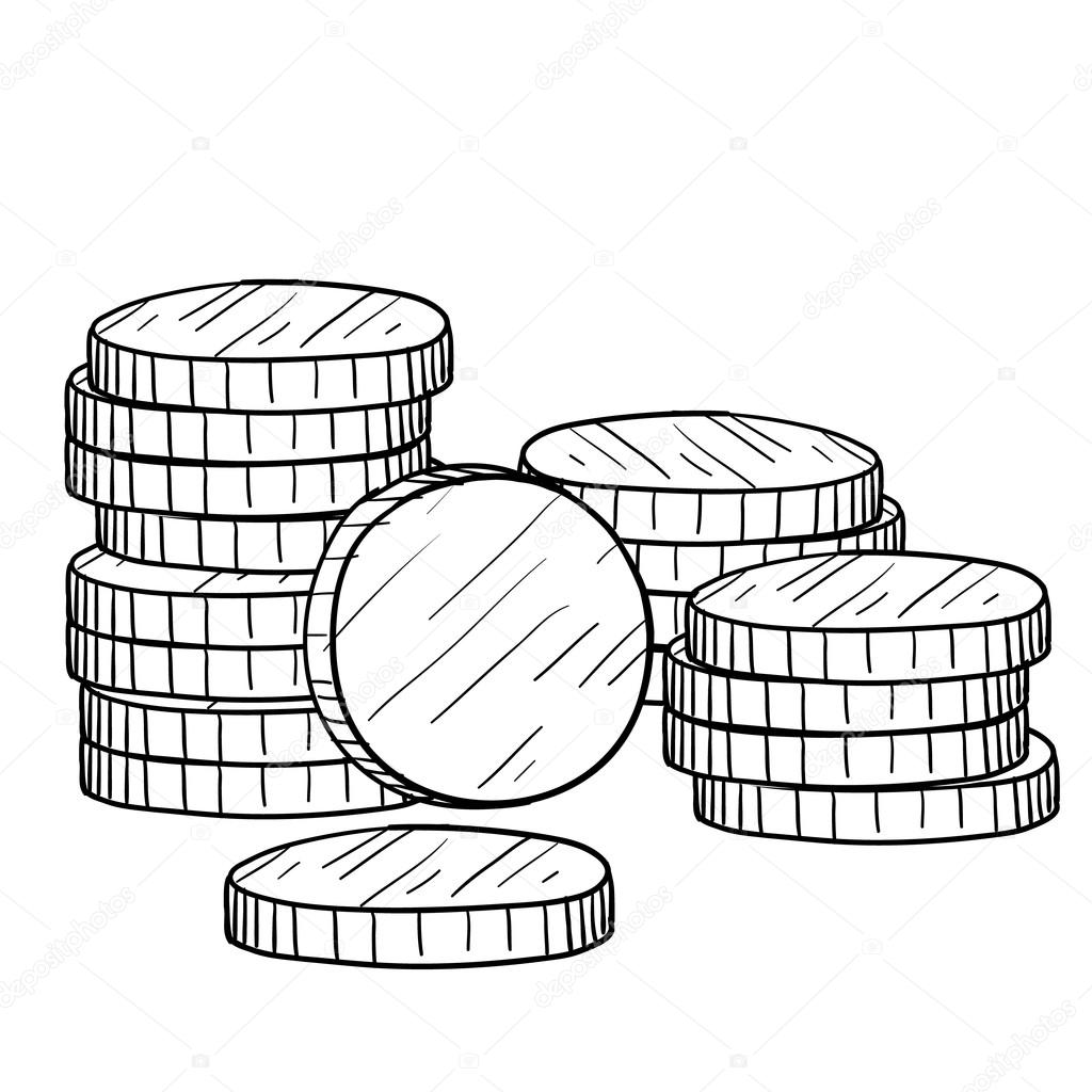 Stack of coins sketch — Stock Vector © lhfgraphics #13987900