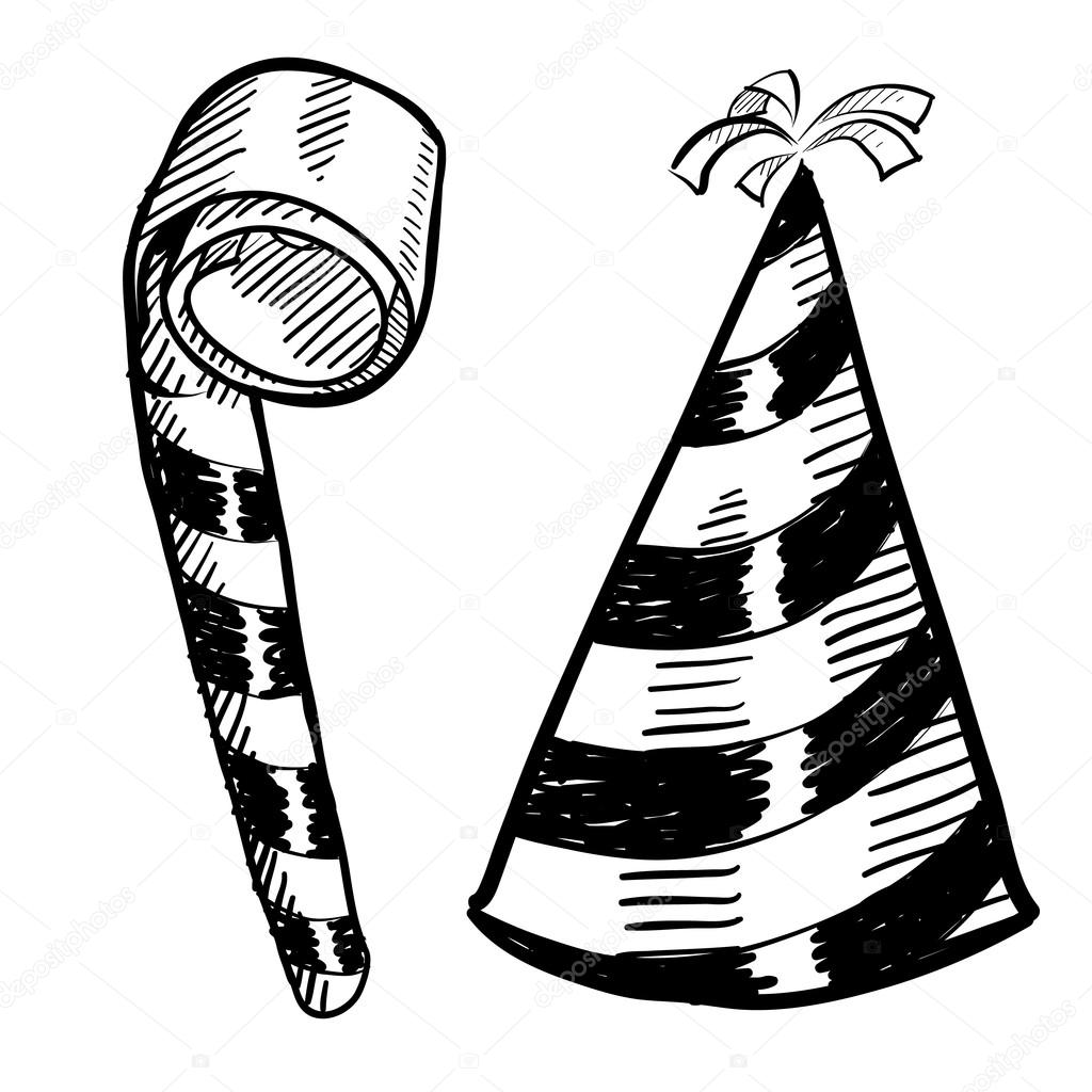 New Years eve party hat and noisemaker sketch — Stock ...