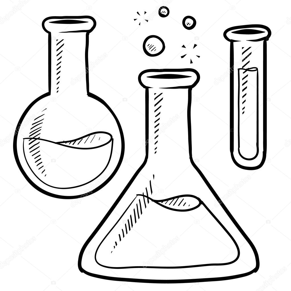 Stock Illustration Science Lab Beakers And Test Tubes Sketch on chemistry tube clip art