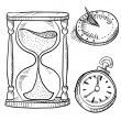 Hourglass, sundial, and stopwatch sketch — Stock Vector