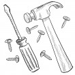 Hammer and screwdriver sketch - Image vectorielle