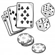 Gambling objects sketch — Stock Vector