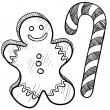 Gingerbread man and candy cane sketch — Stock Vector
