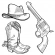 Cowboy objects sketch - Stock Vector