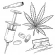 Stock Vector: Illegal drugs vector sketch