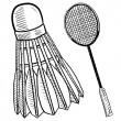 Stock Vector: Badminton objects sketch