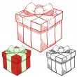 Holiday gifts sketch — Stock Vector