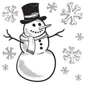 Christmas snowman sketch — Stock Vector