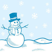 Holiday snowman vector background — Stock Vector