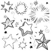 Stars and explosions doodles — Stock Vector